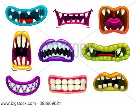 Monster Mouths With Sharp Teeth And Tongues. Cartoon Vector Funny Os Of Aliens Smiling, Laughing Roa