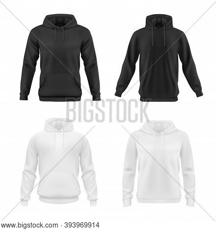 Hoodie, Sweatshirt Vector Mockup For Men Or Women Front View. Isolated Black And White Hoody With Lo