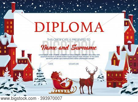 Diploma Certificate Of Child Education Vector Template With Frame Background Of Christmas Town, Sant