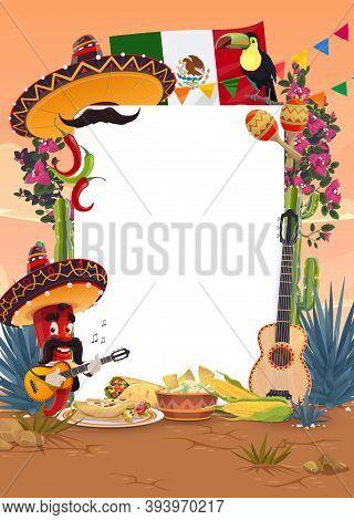 Viva Mexico Or Cinco De Mayo Mexican Holiday Vector Blank Signboard. Fiesta Food, Sombrero Hat, Chil