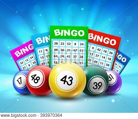 Lottery Balls And Tickets, 3d Vector Bingo Lotto Cards With Numbers, Keno Gambling Games. Colourful