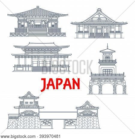 Japan Landmarks, Temples, Tower Gates And Shrines, Japanese Architecture Vector Icons. Shorenji Temp