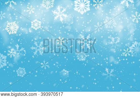 Christmas Snow Flakes Vector Background Of Falling White Snowflakes, Xmas And New Year Winter Holida