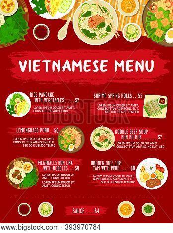 Vietnamese Restaurant Meals Menu. Rice Pancake With Vegetable, Lemongrass Pork, Shrimp Spring Rolls,