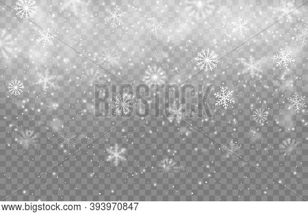 Christmas Winter Snowfall, Snowflakes Vector Background. Realistic Snow Flakes, Isolated Xmas Patter