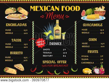 Mexican Restaurant Menu Template With Vector Food And Drink. Corn Tortilla Tacos, Burritos And Nacho