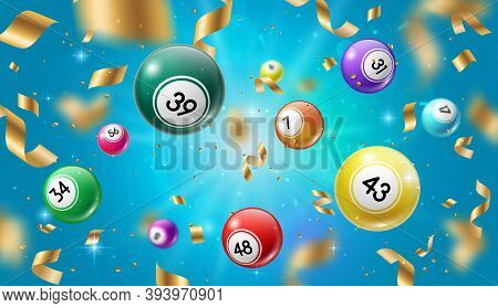 Lottery Balls 3d Vector Bingo, Lotto Or Keno Gambling Games Colourful Spheres With Lucky Numbers Of