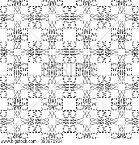 Cross Stitching Seamless Pattern. Checkered Squares Background. Black And White Repeat Geometric Bac