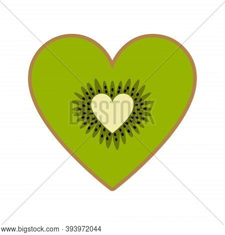 Cute Kiwi Heart Isolated On White Background. Half A Kiwi Fruit In Flat Cartoon Style In Bright Colo