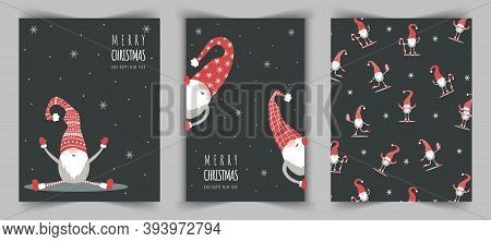 Christmas Cards With Cute Nordic Gnome In Red Hat. Merry Christmas And Happy New Year.