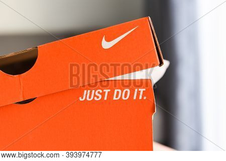 Nike Running Shoes Box With Just Do It And Nike Logo On Orange Box In The Store : Bangkok Thailand N