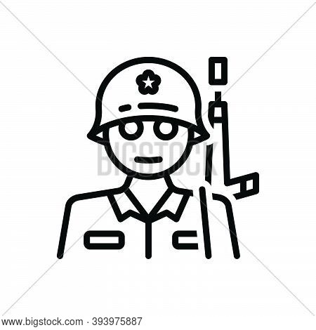 Black Line Icon For Soldier Man-of-war Fighter Commando Military Army Warrior Protection Safety