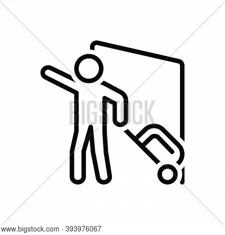 Black Line Icon For Arrive Reach Come  Attain Visit Report Passenger People Baggage