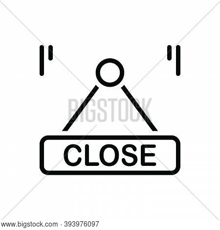 Black Line Icon For Close Shut Label Hang Message Sign Board