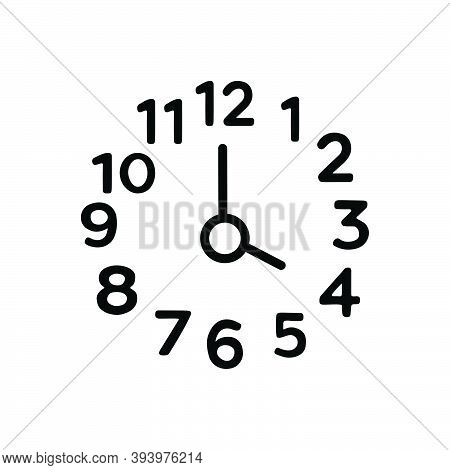 Black Line Icon For Four Number Clock Watch Timer Timepiece Horologe Time Analog Countdown