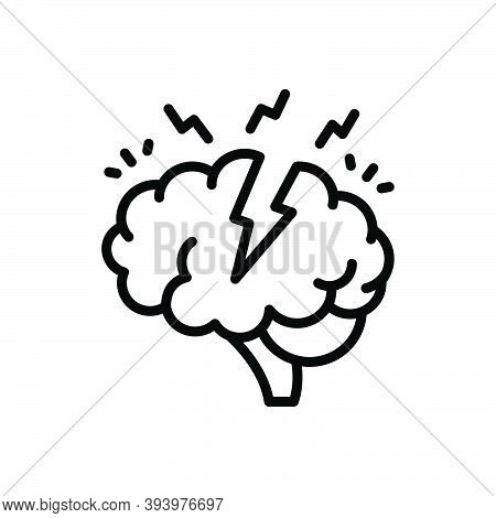 Black Line Icon For Stress Tension Strain Exertion Serious Solemn Critically Headache Nervous Diseas
