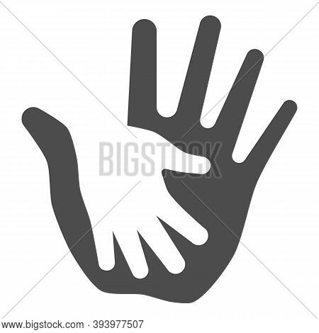 Palm Of Child In Adult Solid Icon, Kids Protection Concept, Helping Hand Sign On White Background, C