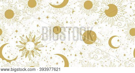 Seamless Golden Space Pattern With Sun, Crescent, Planets And Stars On A White Background. Mystical