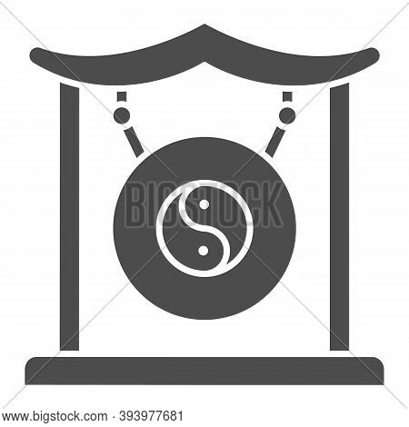 Chinese Gong Solid Icon, Chinese Mid Autumn Festival Concept, Asian Musical Instrument Sign On White