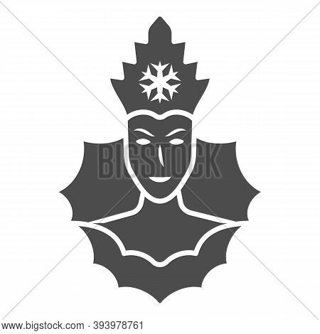 Snow Queen Solid Icon, World Snow Day Concept, Ice Queen Sign On White Background, Winter Princess I