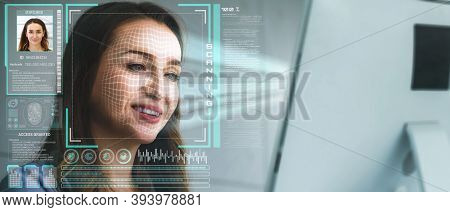 Facial Recognition Technology Scan And Detect People Face For Identification . Future Concept Interf