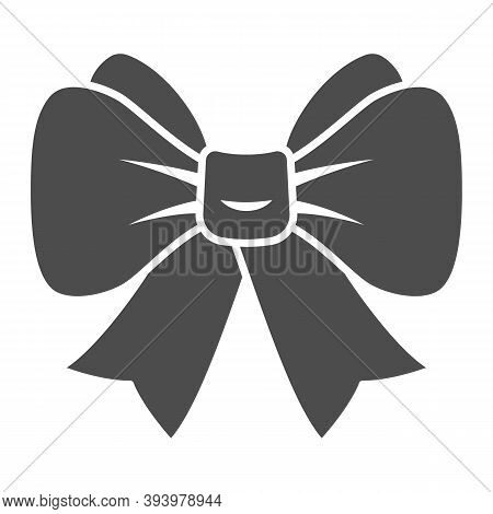Festive Bow Solid Icon, New Year Concept, Christmas Bow Sign On White Background, Ribbon Bow Icon In