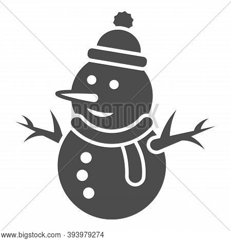 Snowman Solid Icon, World Snow Day Concept, Snow Man Sign On White Background, Snowy Snowman In Hat