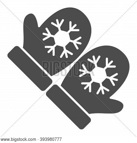 Snowflakes On Mittens Solid Icon, World Snow Day Concept, Pair Of Knitted Christmas Mittens Sign On