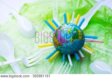 Lots Of Plastic Waste Tubes Plastic Bags Are Swallowing Our World. Clean The World. The Globe Has A