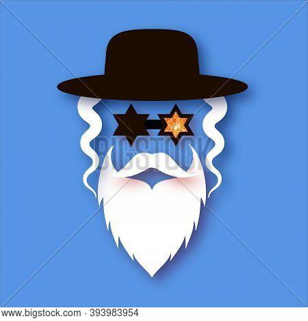 Jewish Man In Paper Craft Style. Jew Man Character In David Stars Glasses.