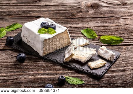 Cheese Board, Cheese With Ash, Goat Cheeses, Home Made Cheese Farmer. The Concept Of Natural Eco Dai