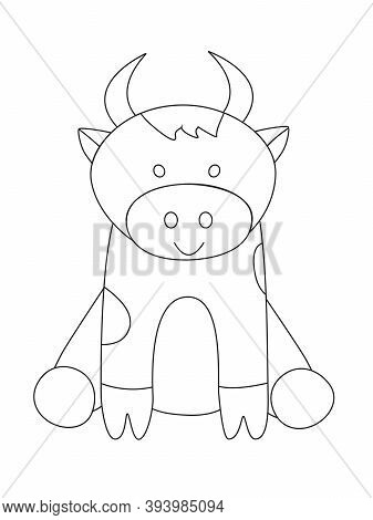 Outline Cartoon Funny Goby. Vector Illustration Of A Bull.