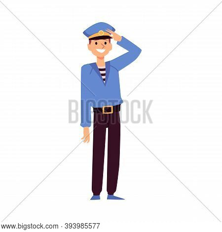 Sailor Or Seaman With Hand In Greeting Gesture Flat Vector Illustration Isolated.
