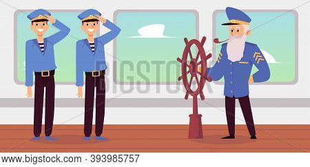 Old Captain And Young Seamen On Desk Of Sea Ship Flat Vector Illustration.