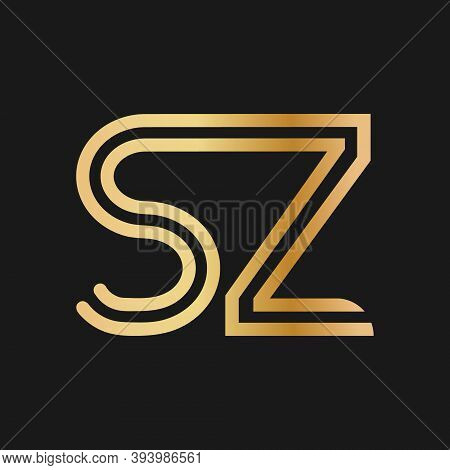 Uppercase Letters S And Z. Flat Bound Design In A Golden Hue For A Logo, Brand, Or Logo. Vector Illu