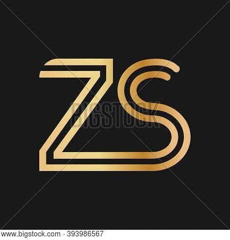 Uppercase Letters Z And S. Flat Bound Design In A Golden Hue For A Logo, Brand, Or Logo. Vector Illu