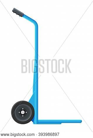 Empty Barrow Isolated On White. Metallic Two Wheeled Trolley. Hand Truck Dolly Icon. Transportation