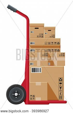 Barrow Full Of Boxes Isolated On White. Metallic Wheeled Trolley With Cardboard Box. Delivery Servic