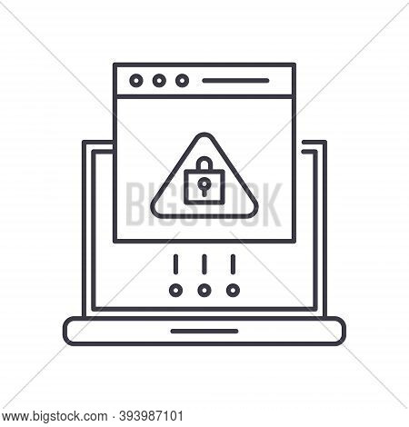 Access Denied Icon, Linear Isolated Illustration, Thin Line Vector, Web Design Sign, Outline Concept