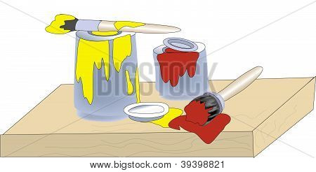 Vector paints and brush