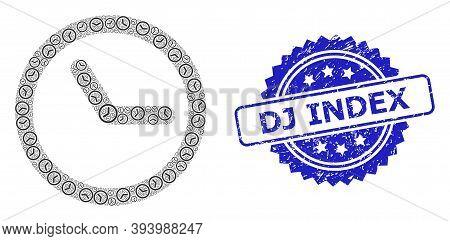 Dj Index Textured Stamp And Vector Recursive Mosaic Clock. Blue Stamp Seal Includes Dj Index Title I