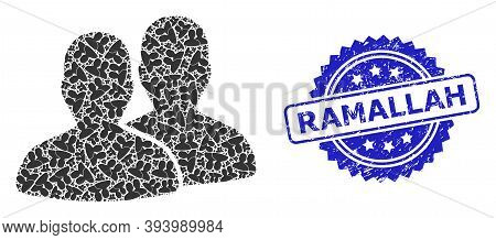 Ramallah Grunge Seal Imitation And Vector Recursion Mosaic Users. Blue Stamp Seal Includes Ramallah