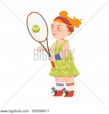 Cute Girl Athlete With Hairband Playing Tennis Vector Illustration
