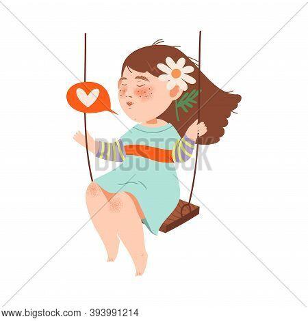 Little Flushed Girl With Flower In Her Hair Swinging On Swing Vector Illustration