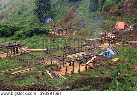 Manufactory In Africa, Wood,  Planks, Manual Work.