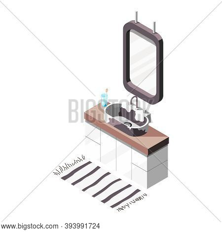 Loft Interior Isometric Composition Of Bathroom Furniture Icons With Vanity Basin And Hanging Mirror