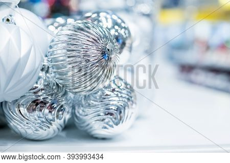 Silver Christmas Ornaments, Market Store - Christmas Decorations Shelf.collection Of Christmas Fairy
