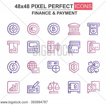 Finance And Payment Thin Line Icon Set. Bank, Currency, Deposit, Credit Card, Security, Exchange, At