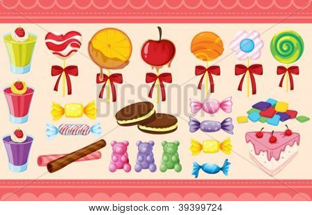 illustration of a various sweets and wallaper