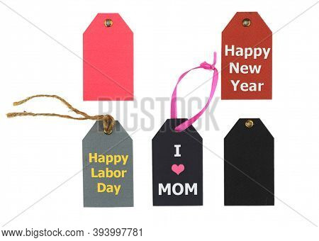 Set Of Blank Paper Tag, Greeting Tag Isolated On White